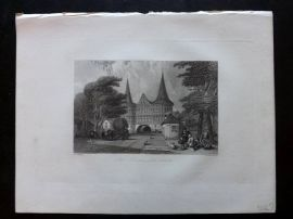 After Vickers 1834 Antique Print. The Holstein Gate, Lubeck, Germany